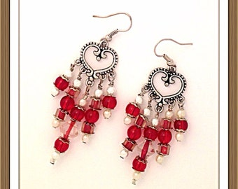Handmade MWL silver heart dangle earrings with red, white pearls and clear beads. 0060