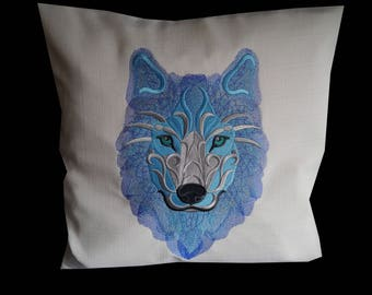 Beautiful handmade baroque Siberian Wolf cushion cover
