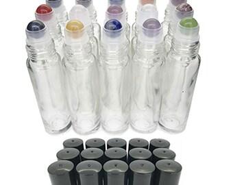 15pc Gemstone Set in CLEAR Glass LUXURY 10ml Roll On Bottles Chakras, Essential Oil Blends Amethyst, Carnelian, Fluorite, Hematite Jade