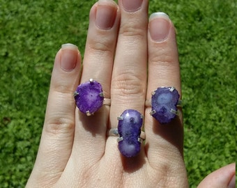 Purple solar quartz, silver rings, 3 sizes.