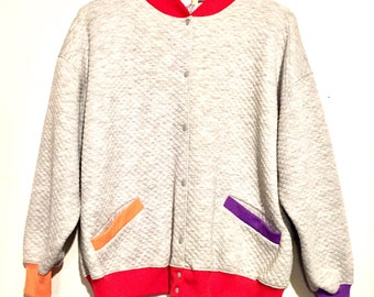80s Vintage Colorblock Knit Bomber Jacket XL wt91554