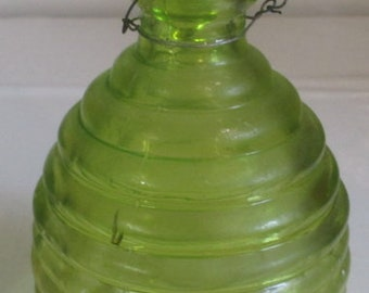 unusual green glass fly-catcher trap 1930