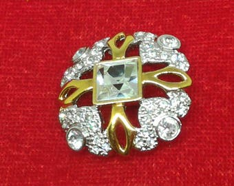 Silver and Gold Jewel button with Swarowski.
