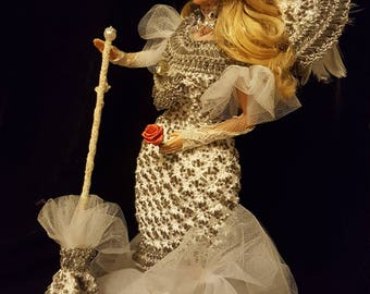 1899 Mae West Stage Costume Hand Crocheted Doll