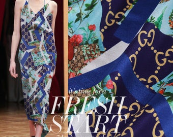 """Free Shipping-Blue silk crepe fabric with chain style for silk scarf-FSJH-55""""/140 cm Wide"""