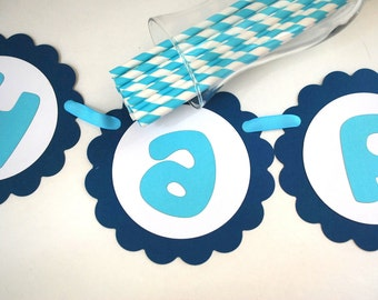 Handmade Birthday Banner , Happy birthday Banner scalloped circle banner - choose colors A280