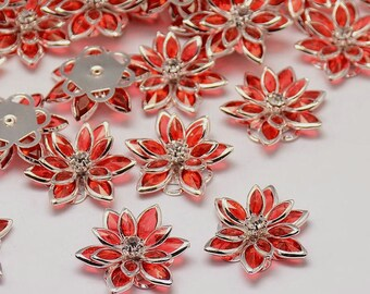 Red Flower with Rhinestone - Set of 4 - #HK1130