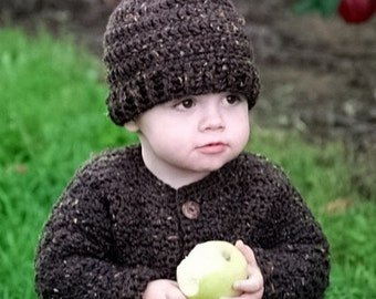 Boys  Sweater and Hat. Dark Brown with Gold, Orange and Green Flecks, Brown Buttons. Crochet. Size 2T.  Ready to Ship
