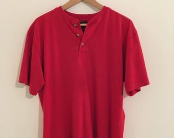vintage red henley short sleeved tshirt, men's sz m