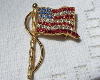 Vintage patriotic red white blue Waving American Flag  rhinestone pin brooch In God We Trust
