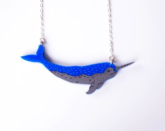 Narwhal Necklace, Narwhale Necklace, Whale Necklace, Statement Necklace, Bib Necklace, Unicorn of the Sea, Laser Cut Necklace, endangered