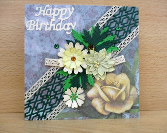 Birthday card, green and cream flowers and lace