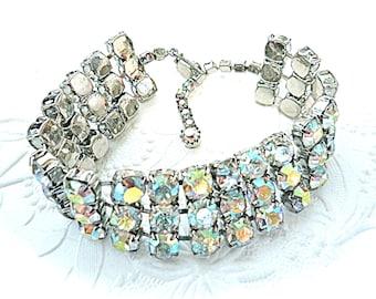 Vintage Rhinestone Bracelet AB Czech Rhinestone Jewelry VA-140