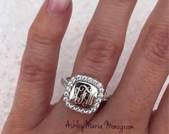Monogram Sterling Silver Rings, Monogram Square Rings, Sterling Silver Monogram Rings, Monogram Engagement Ring