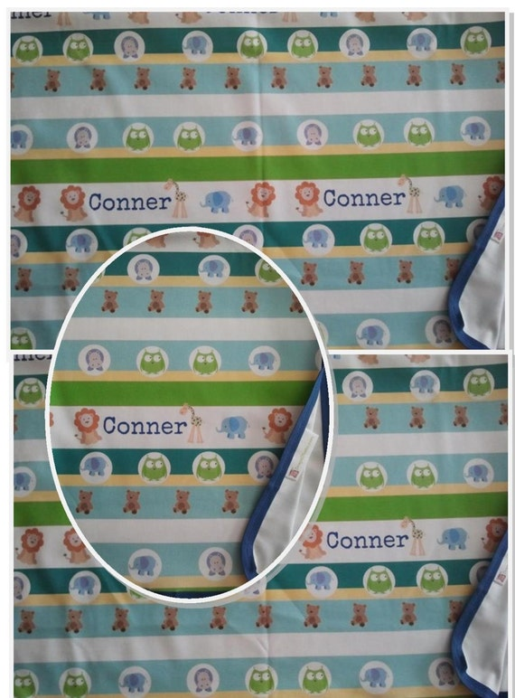 Personalized Organic Cotton Blanket - Garden Stripes Friends 1 Blue, Baby / Toddler / Kids  Blanket