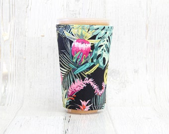 Tropical Floral Iced Coffee Cozy, Hawaiian Coffee Cozy, Cup Cozy, Iced Coffee Cozy, Cup Sleeve, Coffee Cozy, Coffee Cuff