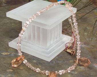"""Peach Ice Crystal Necklace ~ Peachy Pink Faceted Crystal ~ 17"""" Long Necklace"""