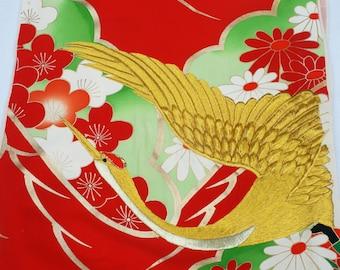 Embroidered Vintage Silk Kimono Fabric
