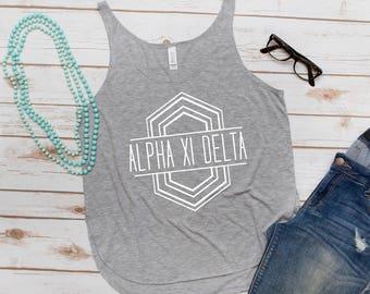 Alpha Xi Delta Sorority Tank, Sorority, Phi Sigma Sigma, Letters, Greek Letters, Women's Tank, Fashion