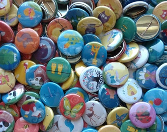 20 Forest Animal Pinback Buttons - Woodland Pins