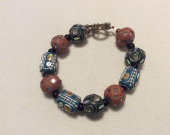 Brown and turquoise blue bracelet
