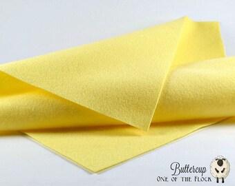 Buttercup Wool Felt, Merino Wool Felt, Wool Felt Yardage, Wool Felt Fabric, Yellow Felt Fabric, Yellow Wool Felt, Light Yellow Felt, Felt