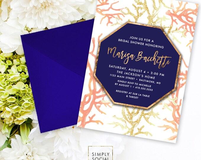 Beach Coral Bridal Shower Invitation - Under the Sea Boho Coral Navy Faux Gold Foil Invitation Gold Geometric Watercolor