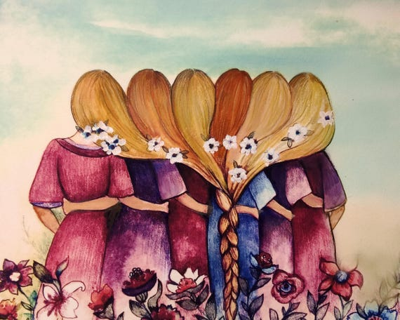 The six sisters best friends brisdemaid present  art print