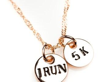 Rose Gold I Run 5k Necklace, Marathon Necklace, Racing Necklace, Achivement Necklace, Running Necklace, Motivational Necklace, Celebratory
