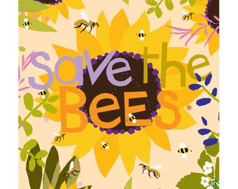 Save the bees print original illustration 8 x 10 in 11 x14 inch mat