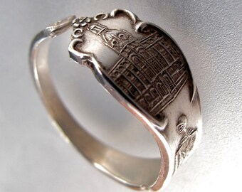 Sterling Vancouver ring.  Canada silver spoon ring. spoon jewelry. sterling Canada Band. size 6 to 8 No.005