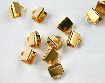 20pcs 9x5mm Clamps Crimp Ribbon End Gold-Plated Brass Smooth Finish
