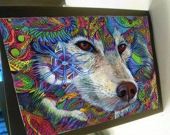 greeting card colorful zentangle animal wolf psyche 5x7 blank card