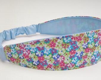 Reversible Headband, Watercolor Flowers, Blue Head Band, Yoga Headband, Women's Accessory, Wide Hair Wrap, Boho Headband, Flower Headband