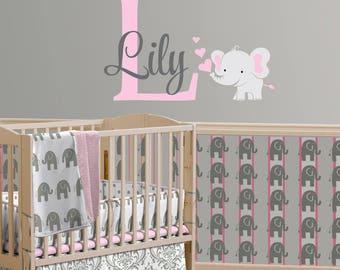 Elephant Custom Name Personalized Initial Vinyl Wall Decal Sticker for Nursery, Girl's Room or Playroom, Nursery Monogram