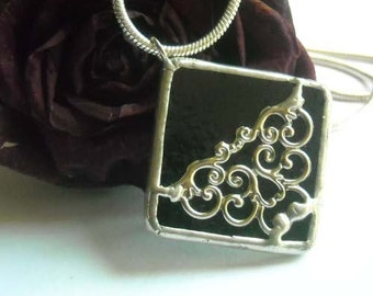 Black Stained Glass Pendant With Filigree