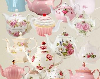 Teapot Clip Art , Teacup , Vintage tea pots, Vintage teapot , Tea Party Clipart , Floral Teapot , Floral tea time , Teatime Pink Roses