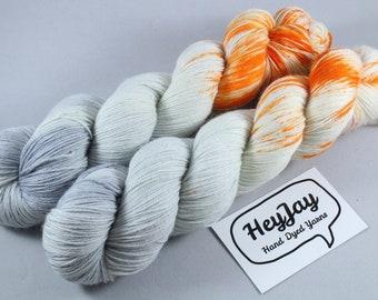 Hand Dyed Sock Yarn Superwash Merino/Nylon - Baby's On Fire