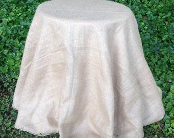 "90"" Round Burlap Tablecloth - Table Skirt"