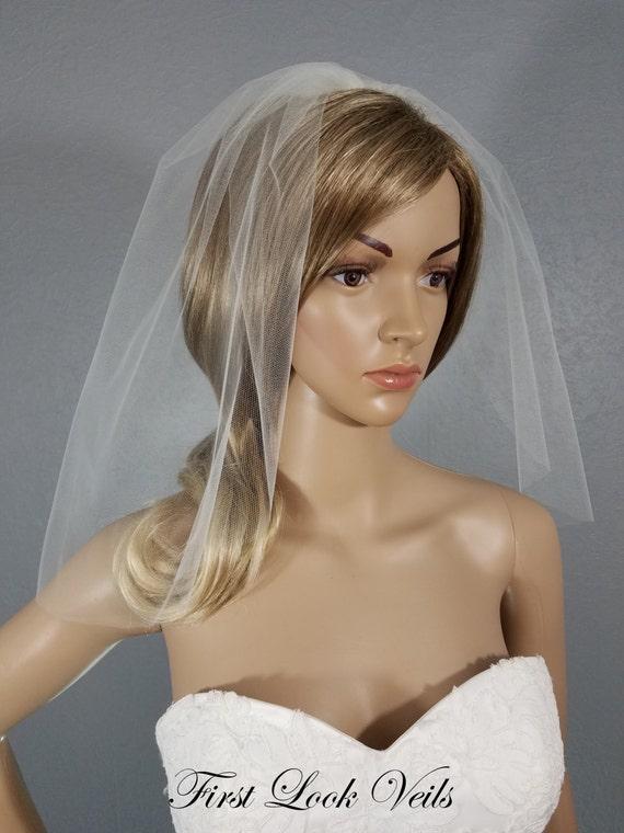 Ivory Bridal Veil  Wedding Veil, Shoulder, One Layer Plain Veil, Vail, Veil, Vale, Short, Bridal Attire, Accessory, Bride, Gift