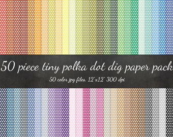 80% OFF SALE Polka Dot Digital Paper Pack - Tiny Dot Texture Scrapbook Paper - Paper Background Texture Pattern Scrapbook Polka Paper