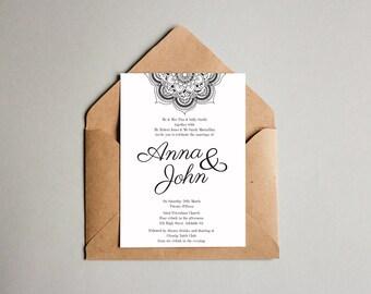 Black and White Engagement Mandala OR Wedding Invitation
