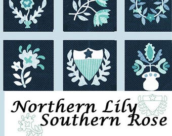 Northern Lily/Southern Rose: 9 Appliqued Blocks North & South from Barbara Brackman. Civil War Quilt Design. Paper pattern through the mail