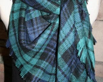 Navy and Green Plaid Tartan Blanket Scarf  Plaid Scarf Christmas Gift Scarves Plaid 2015 Blanket Scarf Favorite-Accessories