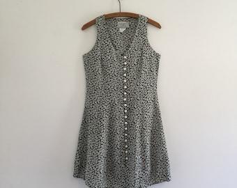 Vintage 90's Button Front Mini Dress S
