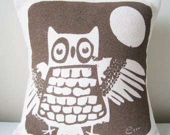 Owl Woodland Pillow, Brown, 10 inch, Hand Printed Bark Cloth