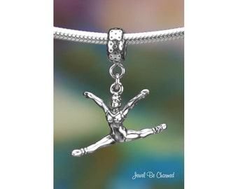 Sterling Silver Leaping Ballerina Charm or European Charm Bracelet 925