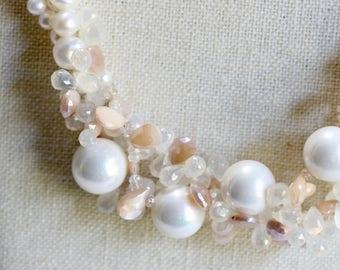 Gemstone Pearl Statement Necklace, Blush, Pink, Pearl Statement Necklace, Multi Strand Twist Necklace, Freshwater Pearls, Gems, Sterling