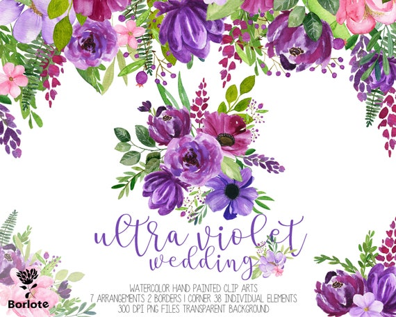 Ultra Violet Watercolor Flowers Wedding 2018 Clip