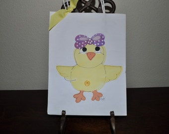 SALE Chick Hand Painted Spring Gift Bags